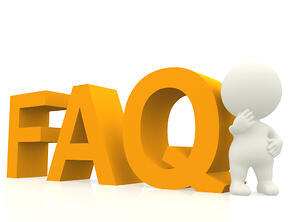 Inquisitive 3D man with a FAQ text - isolated over white